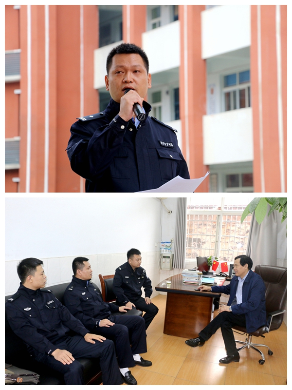 警官�y�-��+_刘琦警官作法制教育讲座,与校长周明球交流情况.